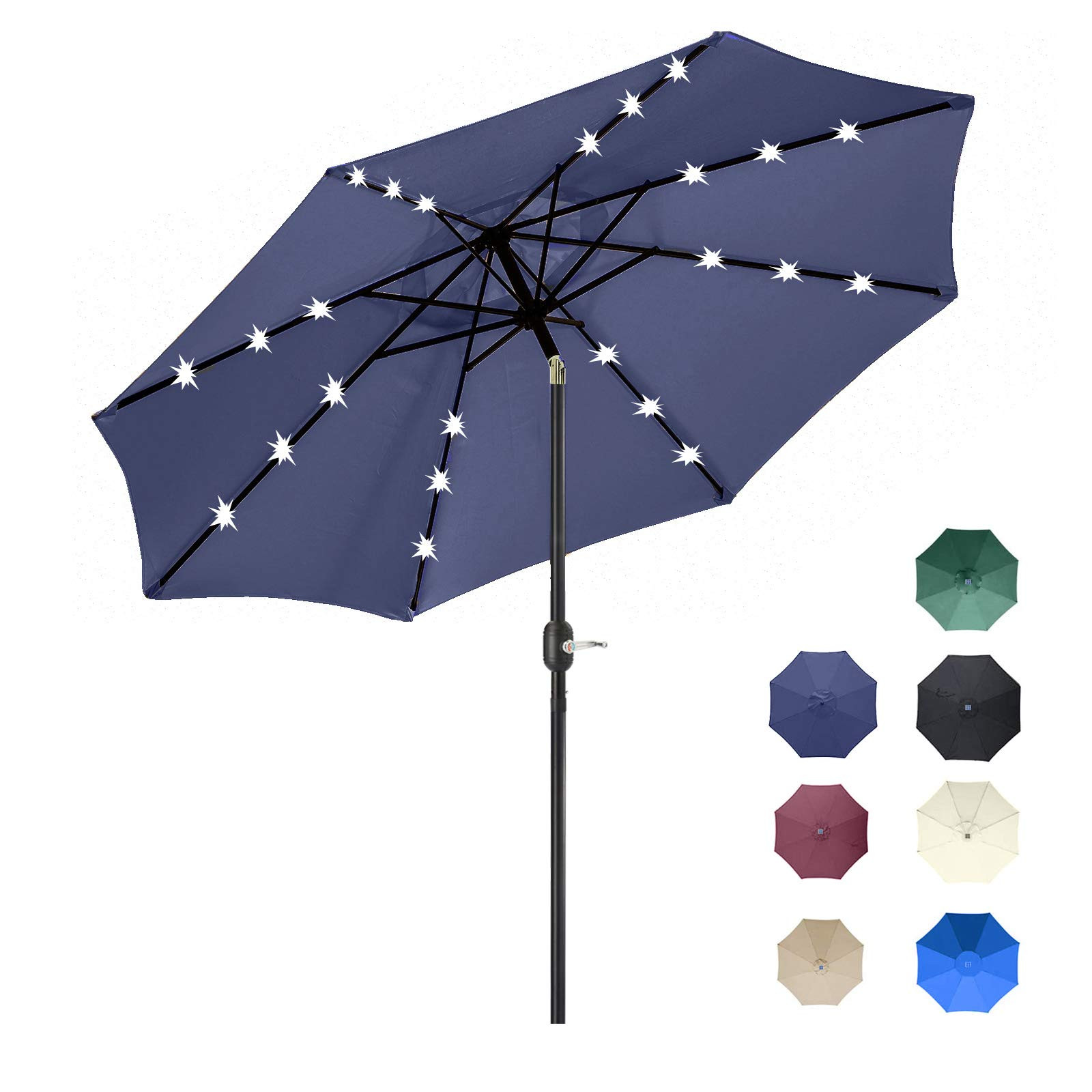 9FT Solar 24 LED Lighted Outdoor Patio Umbrella with 8 Ribs/Tilt Adjustment and Crank Lift System (Navy Blue)