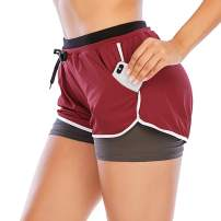 HOMETA 2 in 1 Running Shorts for Women Workout Shorts Double Layer Shorts Athletic Yoga Shorts Sport Gym with Pockets