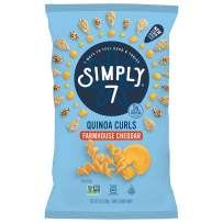 Simply 7 Quinoa Curls, Farmhouse Cheddar, 3.5 Ounce (Pack of 12), Packaging May Vary