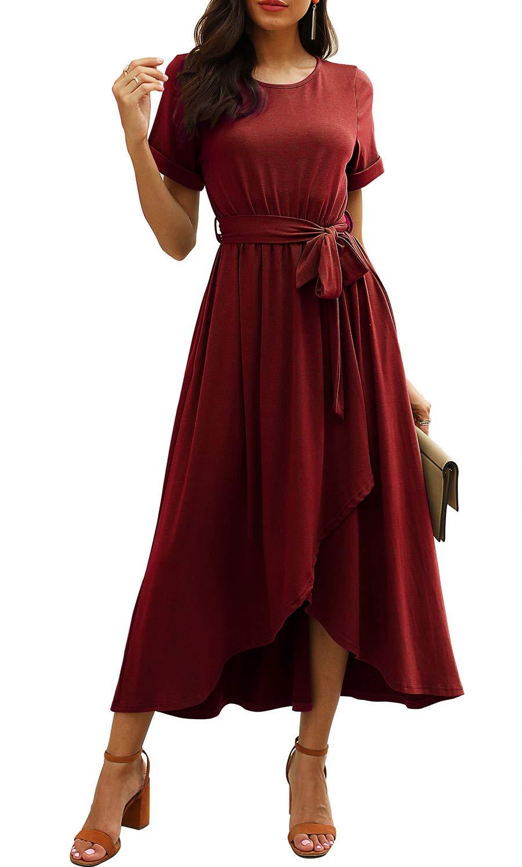Real She Women's Short Sleeve Belted Casual Plain Maxi Dress Elastic Waist Slit Asymmetrical Wrap Long Dress with Pockets