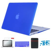 Se7enline 11 inch MacBook Air Case Soft Touch Plastic Hard Shell Cover for MacBook Air 11.6 inch Model A1370, A1465 with Accessories Sleeve Bag, Keyboard Cover, Screen Protector, Dust Plug, Deep Blue