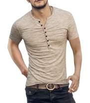 Men's Soild Henley Short Sleeve Tops Buttons Front Casual T Shirts Tee (M, Beige)