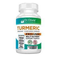 Dr. Olivia Naturals Organic Turmeric Curcumin Complex with Ginger and Boswellia -120 Capsules