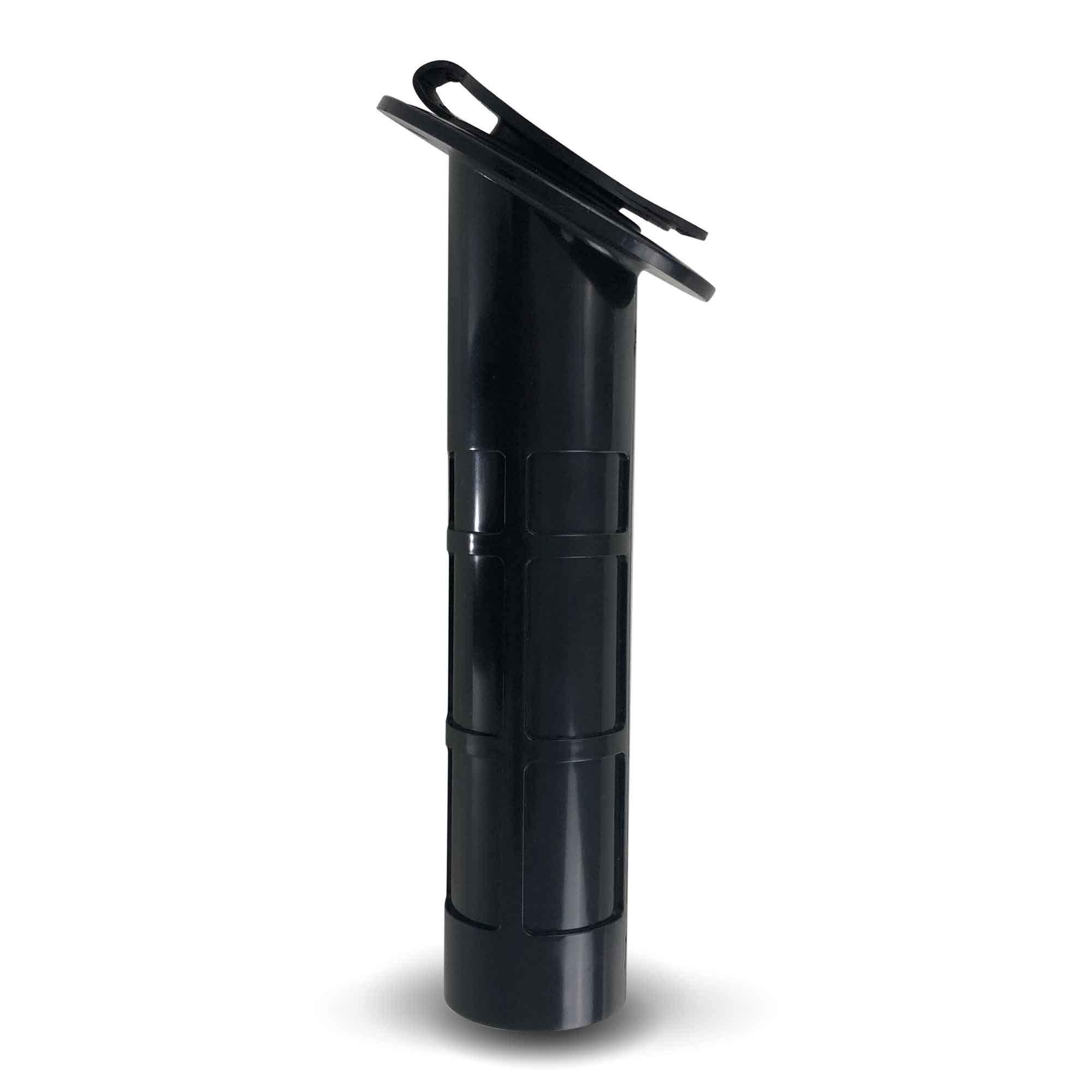 Five Oceans Black Plastic Flush-Mount Fishing Rod Holder 60-Degree Top Flange w/Flip-up Cap FO-2413