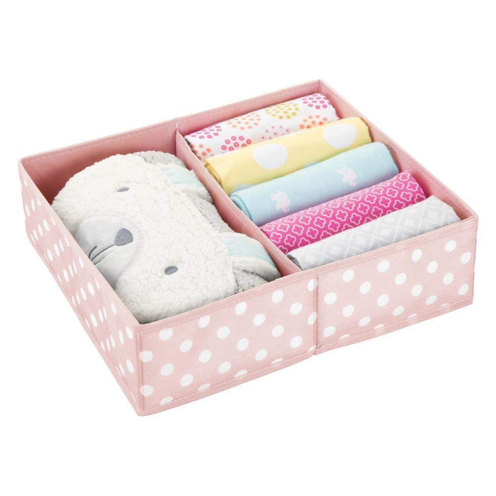 mDesign Soft Fabric Dresser Drawer and Closet Storage Organizer Set for Baby Room/Nursery, Child, Kids, Girls, Boys Clothes - 2 Section Wide Organizer - Pink, White Dots