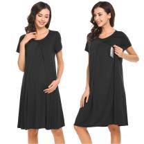 Ekouaer Womens Maternity Nursing Nightgown Round Neck Short Sleeve Sleep Dress