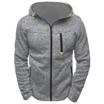 Mens Fleece Hoodies Zip Up- Active Contrast Color Hoodie Lightweight Sport Full Zip Jacket