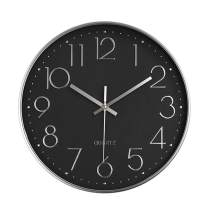 "Foxtop Modern 12"" Battery Operated Silent Non-Ticking Wall Clock Digital Quiet Sweep Office Decor Clocks, Silver Plastic Frame Glass Cover (Black Dial, Arabic Numeral)"