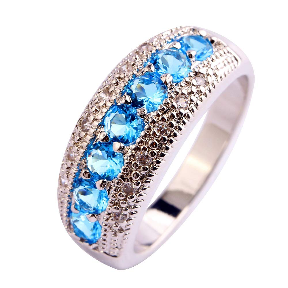 Narica 925 Sterling Silver Plated Blue Topaz Ladies Eternity Love Cocktail Ring Wedding Band CZ Sizes 8