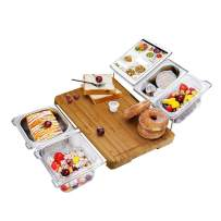 Bamboo Cutting Board Extensible Cheese Board Food Serving Tray Set Prepdeck for Kitchen with Stainless Steel Containers, Eco-friendly Chopping and Serving Board for Meats Bread Fruits