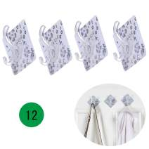 Laigoo 12 Pack Adhesive Wall Hooks丨Towel Hooks Keys Hanger Hat Hanger Decorative Wall Hooks Bathroom Organizer (Flowers)