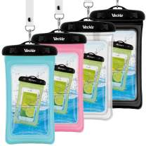 Waterproof Phone Pouch, Veckle 4 Pack Floating Dry Bag Waterproof Case Clear Universal Travel Water Proof Cell Phone Beach Bag for Smartphones Black White Blue Pink