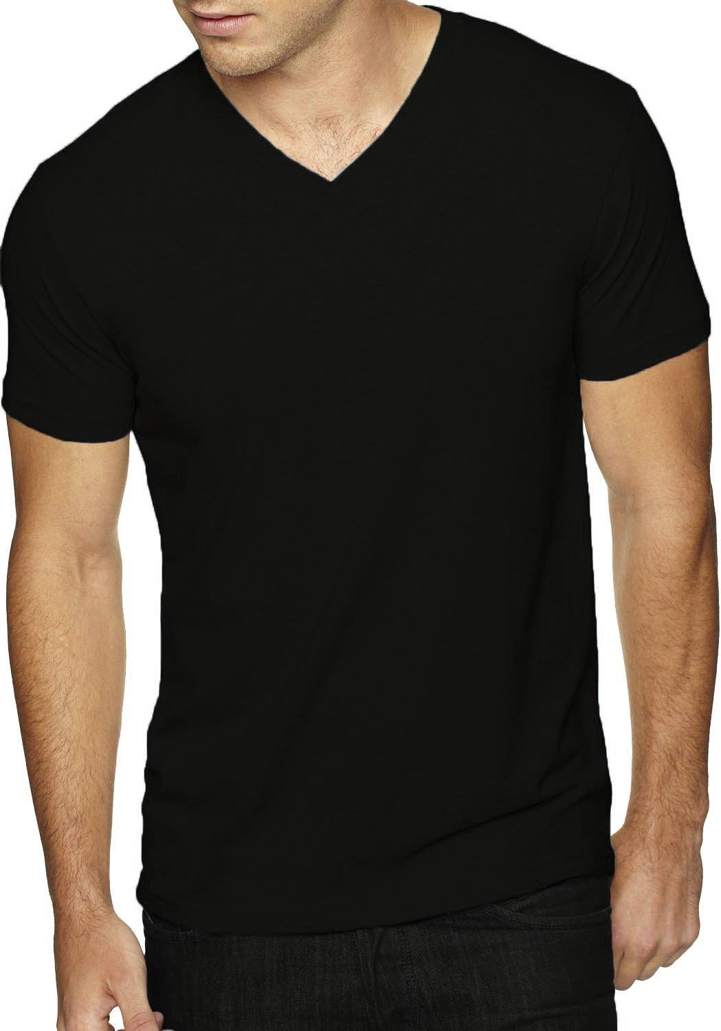 Hat and Beyond Mens Casual V Neck Tee Short Sleeve T-Shirts (Large, Black)