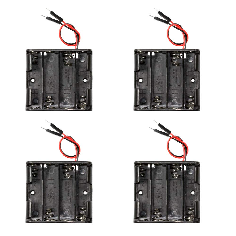 FlashTree【4 pcs】 4 x 1.5V AA Battery Case Holder Storage Plastic Box Battery Spring Clip Black Red Wire with Dupont Male Connector