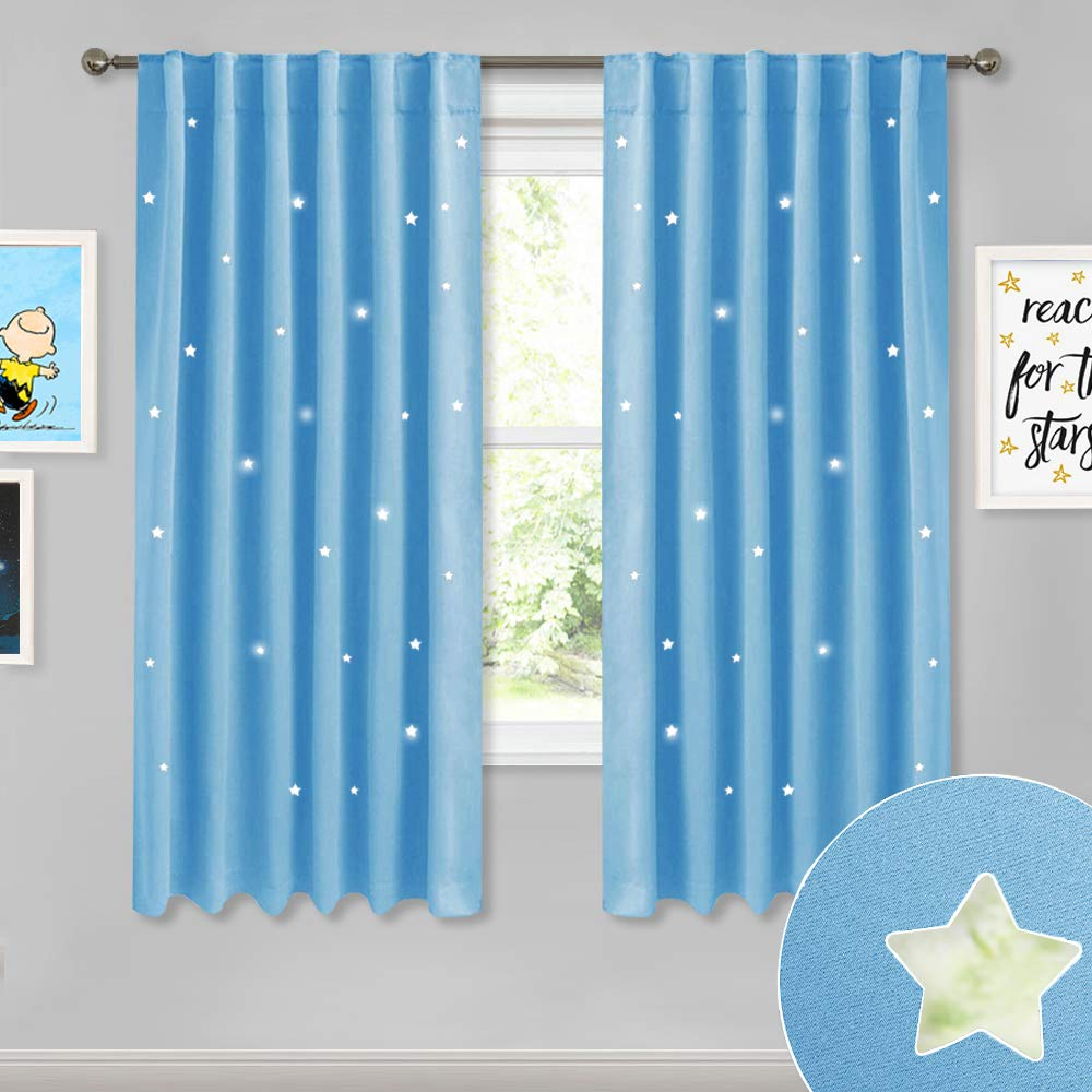 NICETOWN Children Room Star Curtains - Fashion Room Darkening Window Covering Curtain Panel Drapes with Laser Cutting Out Stars for Play Room/Baby Nursery, Baby Blue, 2 Panels, 52W by 63L inches