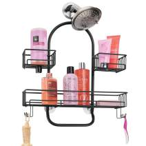 mDesign Metal Wire Tub & Shower Caddy, Hanging Storage Organizer Center with Built-in Hooks and Baskets on 2 Levels for Shampoo, Body Wash, Loofahs - Rust Resistant - Black