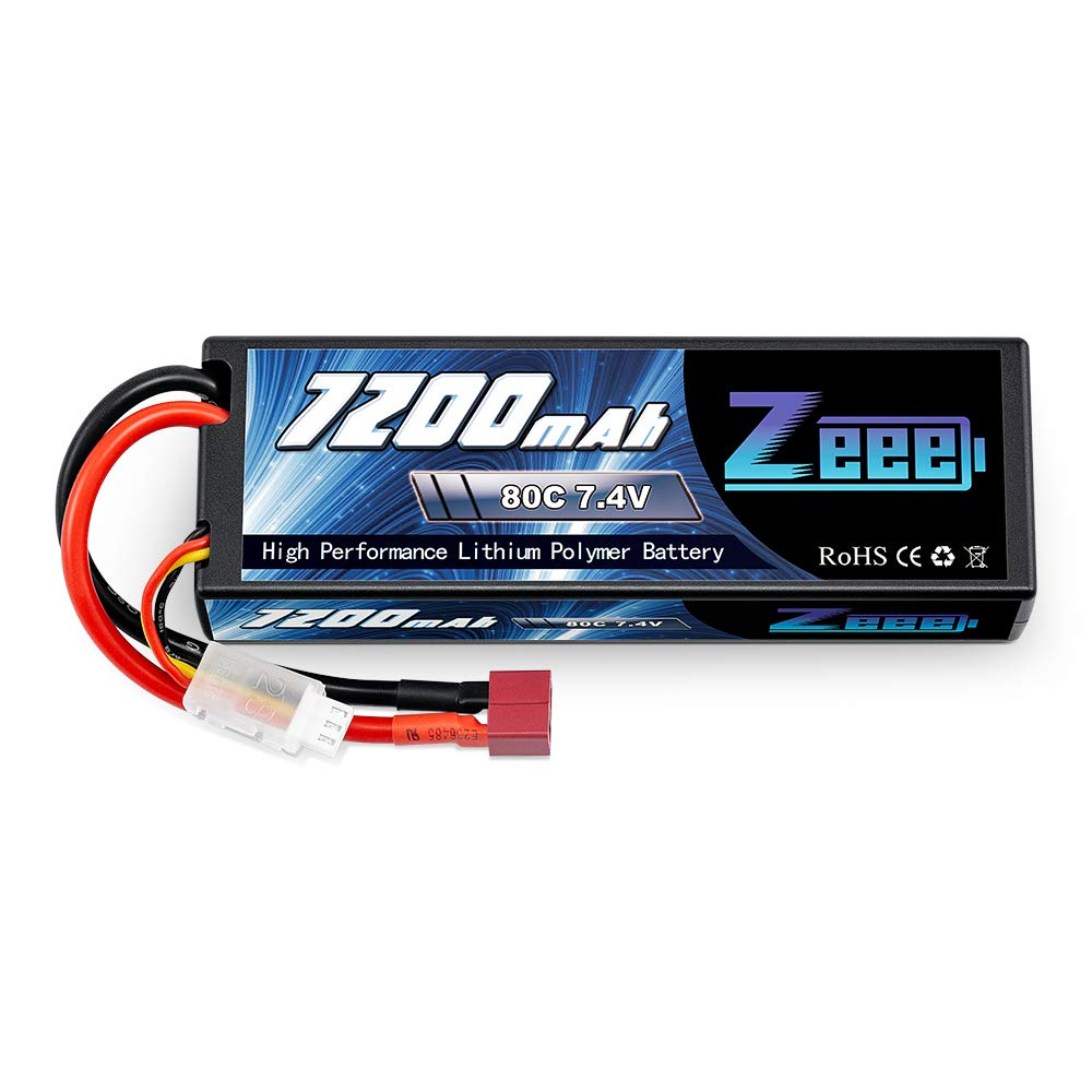 Zeee 2S Lipo Battery 7.4V 80C 7200mAh Hardcase RC Battery with Deans T Style Connector for RC Vehicles Car Truck Losi Traxxas Slash Buggy Team Associated