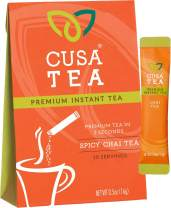 Cusa Tea: Premium Instant Tea - Single-Serve Packets - 100% Organic - Real Fruit and Spices - No Artificial Flavors - Make Hot & Cold Tea in Seconds - Chai 10 Servings