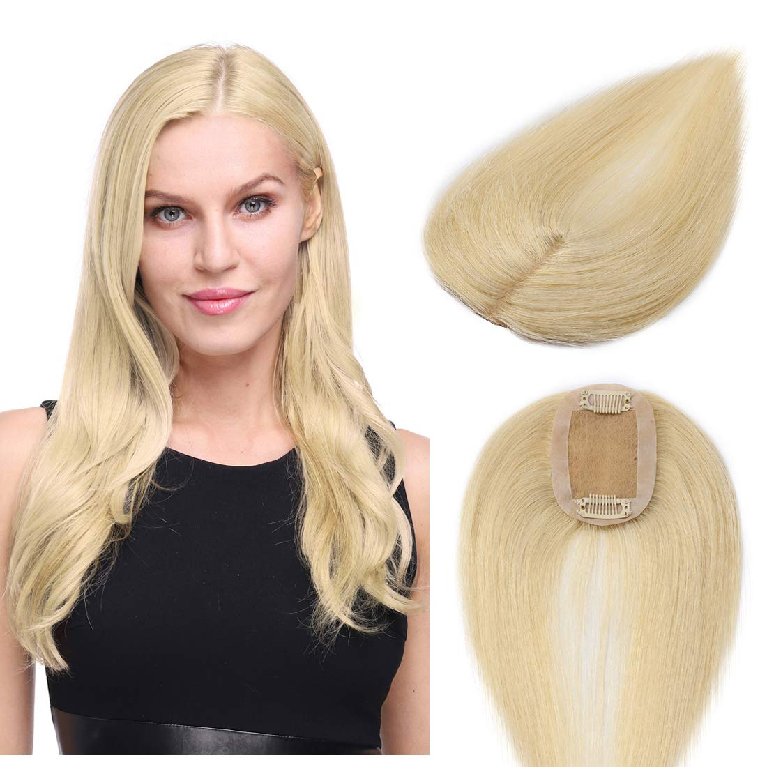 S-noilite Clip in Silk Base Real Human Hair Topper for Women Top Hairpiece Clips in Crown Toupee Replacement Extentions for Slight Hair Loss Thinning Hair Cover Gray Hair 10 Inch (#613 Bleach Blonde)