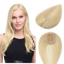 "S-noilite 16"" Silk Base Real Human Hair Topper for Women Top Hairpiece Clips in Crown Hand Made Toupee Replacement Extentions for Hair Loss Thinning Hair Cover Gray Hair #613 Bleach Blonde"