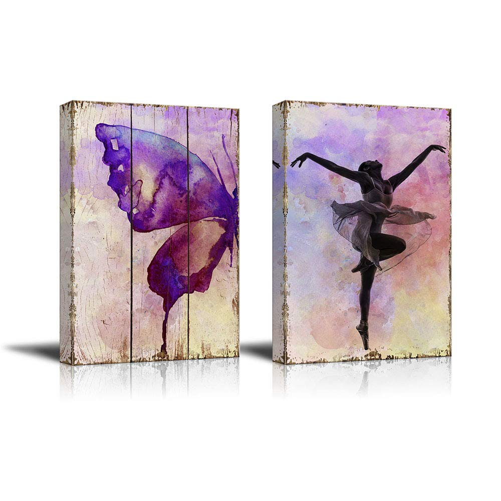 wall26 Watercolored Butterfly on a Wooden Canvas Background and an Elegant Ballerina on a Watercolor Background - Canvas Art Home Decor - 16x24 inches