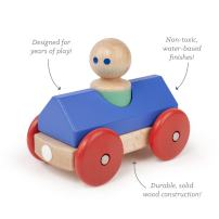 3 Piece Tegu Magnetic Racer Building Block Set, Blue Big Top