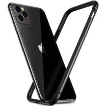 RANVOO iPhone 11 Pro Max Bumper Case, Slim Thin Metal Bumper Case with Soft TPU Inner, Hard Frame Cover Case for iPhone 11 Pro Max, Black