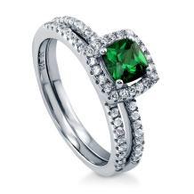 BERRICLE Rhodium Plated Sterling Silver Simulated Emerald Cushion Cut Cubic Zirconia CZ Halo Engagement Wedding Ring Set 0.89 CTW