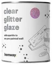 Hemway Clear Glitter Paint Glaze (Pink Holographic) 1L / Quart for Pre-Painted Walls Acrylic, Latex, Emulsion, Ceiling, Wood, Varnish, Dead flat, Matte, Soft Sheen, Silk (CHOICE OF 25 GLITTER COLOURS)