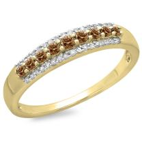 Dazzlingrock Collection 10K Round Gemstone & Diamond Ladies Anniversary Wedding Band Stackable Ring, Yellow Gold
