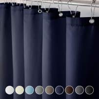 Eforcurtain Modern Water Repellent Solid Shower Curtain Fabric,Bathroom Curtain Extra Long 72 by 84-Inch, Navy Blue