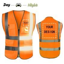 YOWESHOP High Visibility Reflective Safety Vest Customize Logo with 5 Pockets Protective Workwear Outdoor Work Vest (M, Orange)