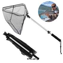 Goture Folding Fishing Landing Net Ultra-Strong Lightweight Rubber Mesh Trout Net with Non-Slip EVA Handle Catching and Releasing Fish Net