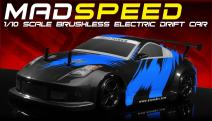 Exceed RC 2.4Ghz MadSpeed Drift King Brushless Edition 1/10 Electric Ready to Run Drift Car (Fire Blue)