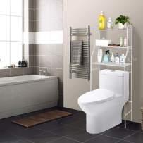 Tenozek 3-Tier Over The Toilet Space Saver Storage Cabinet,Bathroom Organizer Stand Shelf Tower Toilet Shelf Metal Frame Study Waterproof Toilet Bathroom Rack(White)