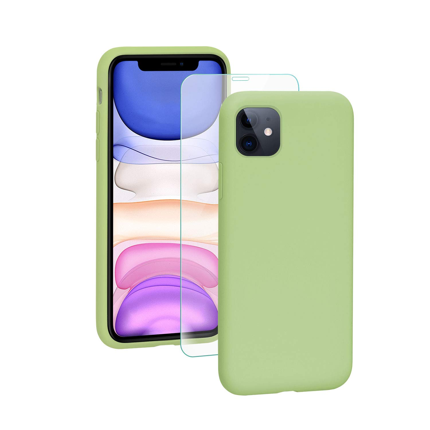 SmartDevil iPhone 11 Case,[Fully Protective] Liquid Silicone Gel Rubber Shockproof Case Soft Microfiber Cloth Lining Cushion for iPhone 11- Green
