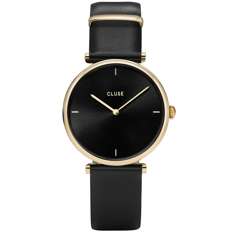 CLUSE Triomphe Gold Black Black CL61006 Women's Watch 29mm Square Dial Leather Strap Minimalistic Design Casual Dress Japanese Quartz Elegant Timepiece