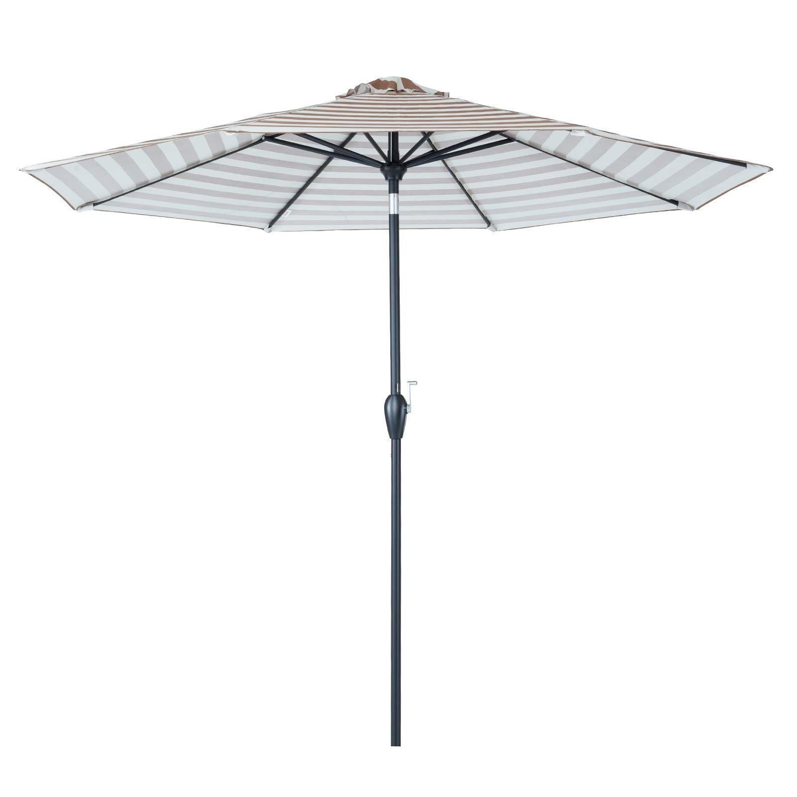 Tempera 9 ft Auto-Tilt Patio Umbrella Outdoor Table Umbrella, 8 Steel Ribs, Beige Taupe Stripe