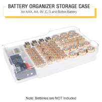 Battery Storage Organizer Case, Batteries Storage box holds 93 Different Size Batteries for AAA, AA, 9V, Flat Batteries,C and D size with Removable Battery Tester By Makerfire