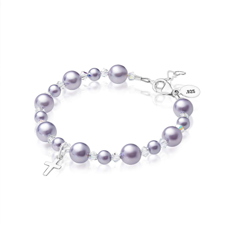 Baby Crystals Girls Elegant Baptism Pearl Bracelet - Swarovski Simulated Pearls- Sterling Silver Cross Charm Bracelet - Girls Jewelry, Christening Favors, Christening Gifts for Girls (4-12 Years)