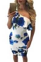 Suimiki Women's Sexy One Off Shoulder Floral Printed Ruffle Bodycon Midi Dress