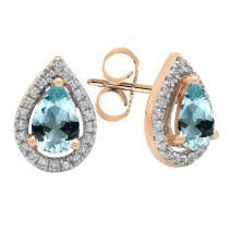 Dazzlingrock Collection 14K 6X4 MM Each Pear Gemstone & Round Diamond Ladies Halo Teardrop Stud Earrings, Rose Gold