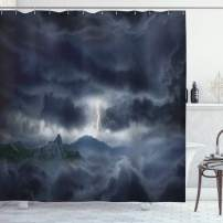 """Ambesonne Nature Shower Curtain, Dark Stormy Sky Over Mountains Like Fictional Powerful Nature Image, Cloth Fabric Bathroom Decor Set with Hooks, 84"""" Long Extra, Blue"""