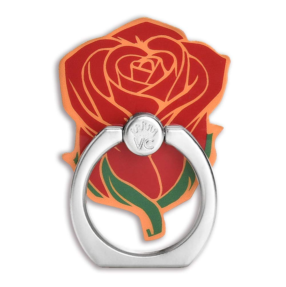 Velvet Caviar Cell Phone Ring Holder - Finger Ring & Stand - Improves Phone Grip Compatible with iPhone, Galaxy and Most Cases (Except Silicone/Leather) - Red Rose Flower