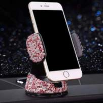 eing Bling Crystal Car Phone Mount with One More Air Vent Base,Universal Cell Phone Holder for Dashboard,Windshield and Air Vent,Pink