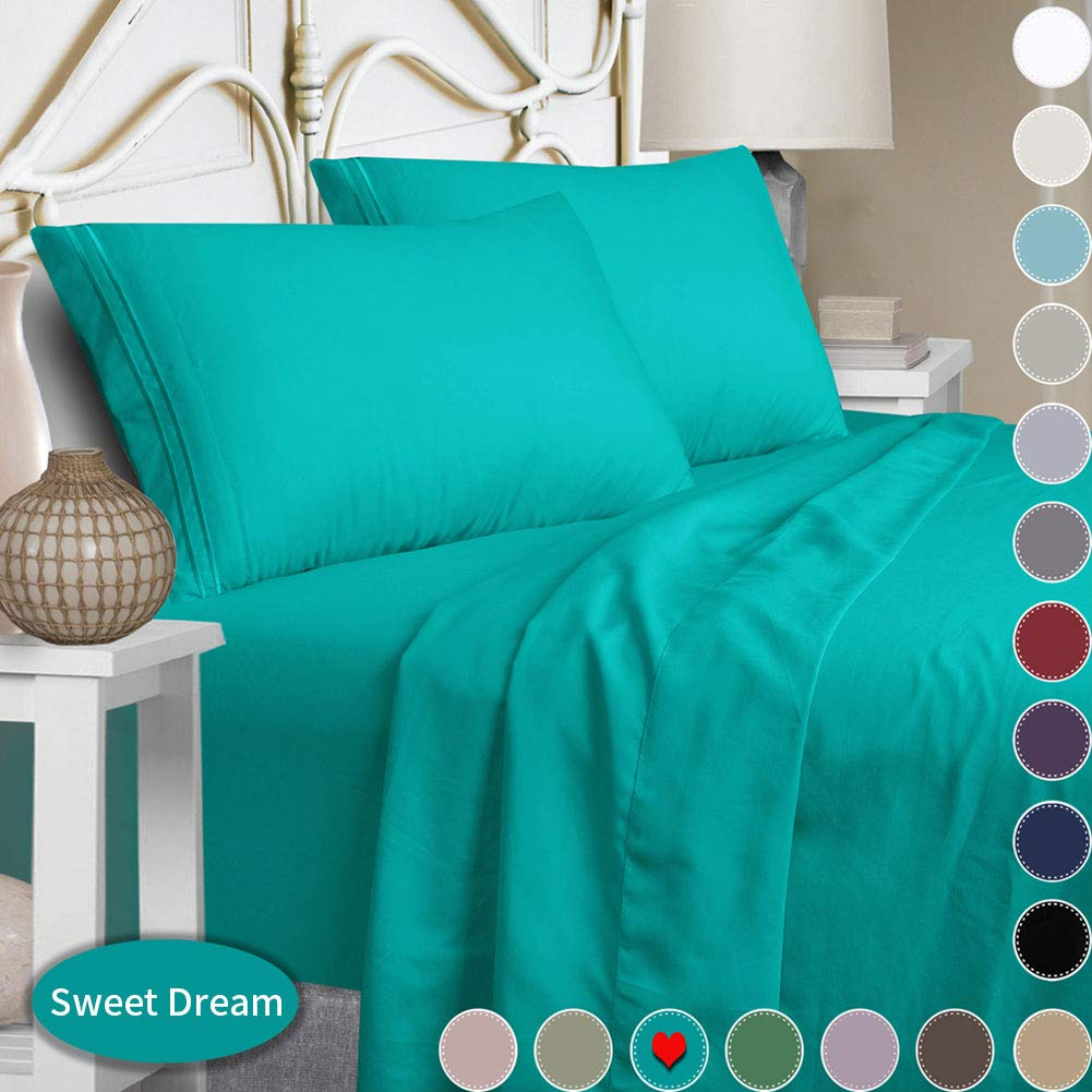 Mejoroom Full Size Sheet Set,Extra Soft Luxury Brushed Microfiber 1800 Thread Count Percale Egyptian Sheets with 15-inch Deep Pocket - Wrinkle Fade and Hypoallergenic - 4 Piece (Full, Teal)