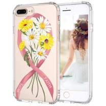 MOSNOVO iPhone 8 Plus Case, iPhone 7 Plus Case, Breast Cancer Awareness Clear Design Printed Transparent Hard Back Case with TPU Bumper Protective Case Cover for iPhone 7 Plus/iPhone 8 Plus