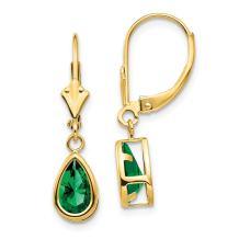 14k Yellow Gold 8x5mm Pear Mount Saint Helens Leverback Earrings Lever Back Drop Dangle Gemstone Bezel Fine Jewelry For Women Gifts For Her