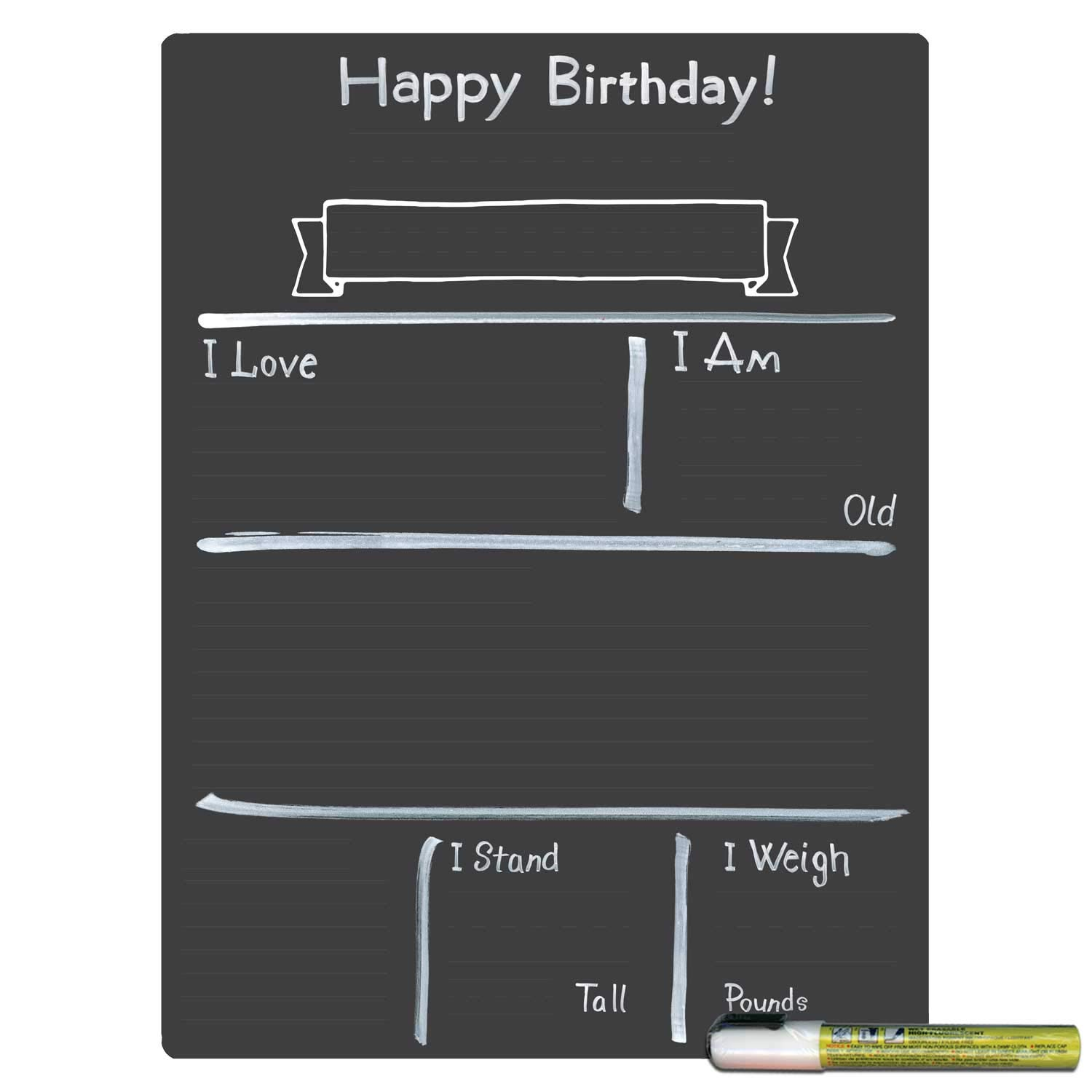 Cohas Design Your Own Birthday Milestone Board with Reusable Chalkboard Style Surface, 12 by 16 Inches, White Marker