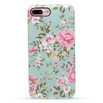 "GOLINK iPhone 7 Plus Case for Girls/iPhone 8 Plus Floral Case, Floral Series Slim-Fit Anti-Scratch Shock Proof Anti-Finger Print Flexible TPU Gel Case for iPhone 7/8 Plus 5.5""-Elegant Green"